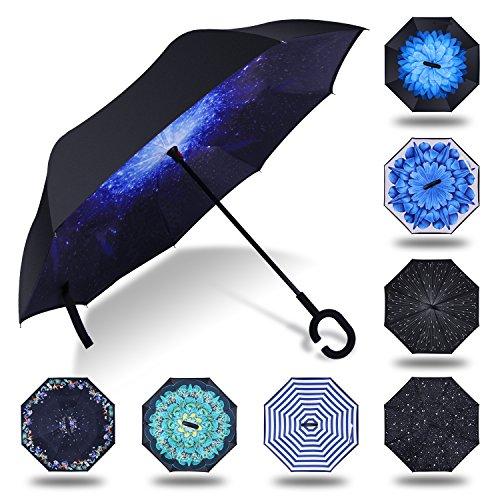 HISEASUN Parapluie Inversé Innovant Anti-UV Double Couche Coupe-Vent Mains Libres poignée en Forme C - Idéal pour Voyage et Voiture(Blue Galaxy)