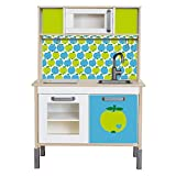 Limmaland Klebefolie byGraziela Apfel passend für Deine IKEA Kinderküche DUKTIG (Farbe Blau/Grün) - Möbel Nicht inklusive