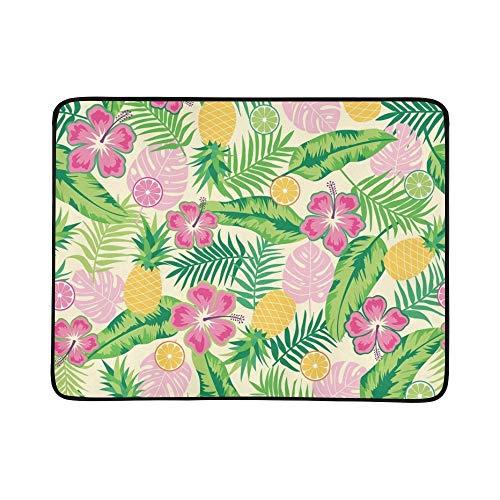WOCNEMP Hibiskus-tropisches Blatt-Ananas-Zitrusfrucht-tragbare und Faltbare Deckenmatte 60x78 Zoll-handliche Matte für kampierenden Picknick-Strand - 1046 Teppich