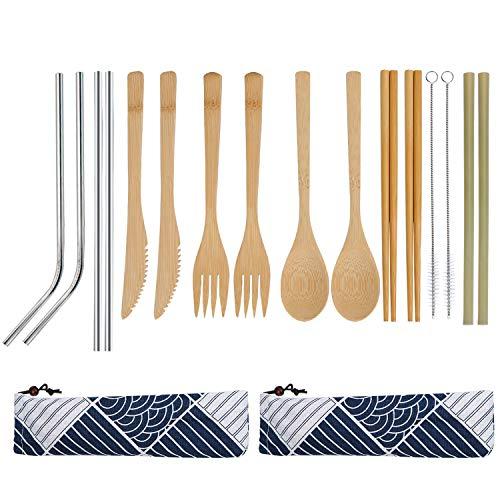 Coolty 2 Set Umweltfreundliche Bambus Besteckset Reiseutensilien Wiederverwendbare Besteck-Satz umfasst Messer-Gabel-Löffel Stäbchen und Strohhalme