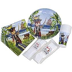 Paquete para fiesta infantil pirata, 10 invitados.