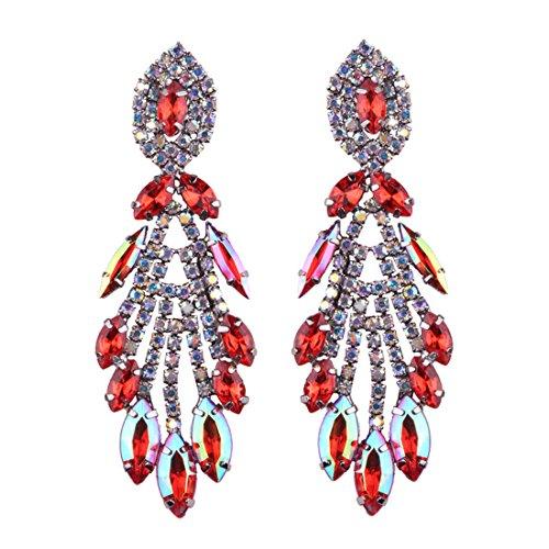 Statement Ohrringe Rot für Damen Costume Neuheit Mode Schmuck Kleidung Zubehör 1 Paar mit Geschenkbox- HLE016 ()