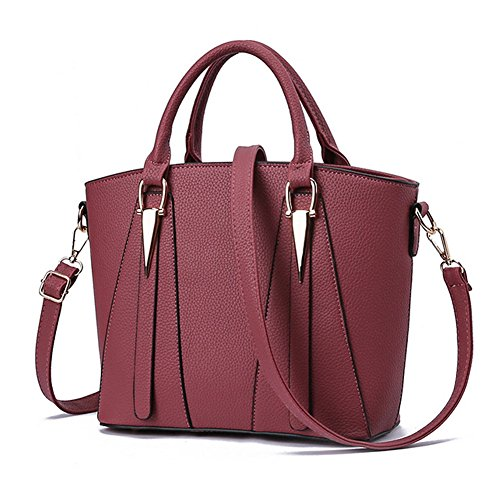 Damen-Handtasche aus Leder, V-förmig, Schultertaschen, großer Tragegriff, Umhängetasche, Messenger-Tasche, Einkaufstasche, Pink - rose - Größe: Large