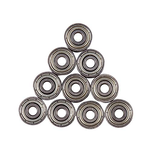 Tosuny 10 Stücke Carbon Steel tiefe Rille Lager Kugellager, Stahl Speed Bearings 3mmx10mmx4mm - 10mm Skateboard-lager