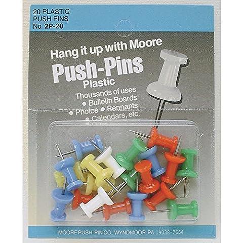 Spingere plastica Pins colori assortiti casella 20