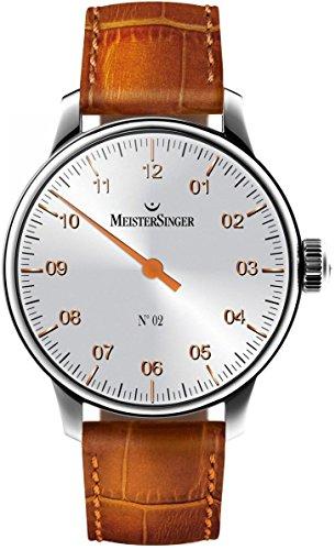 MeisterSinger AM6601G - Reloj mecánico Manual de Viento para Hombre (Esfera de Plata analógica de 43 mm, Esfera única con Cristal de Zafiro, Correa de Piel marrón, Reloj clásico Hecho en Suizo)