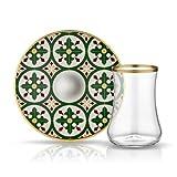 Teeglas rauchgrau und Unterteller grün bordeaux gelb mit Goldverzierung heraldische Lilienblätter, 165 ml, 6er Set