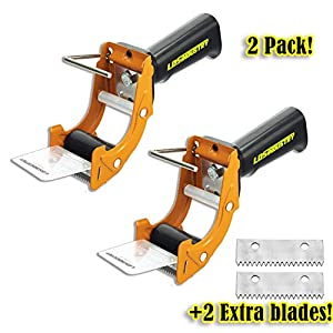 2 Pcs Rapid-Replace Packing Tape Dispenser Guns with Extra Blade, 2 in (50mm) Lightweight Ergonomic Industrial Handheld Heavy Duty Tape Cutter for Carton, Packaging and Box Sealing, LDS Industry