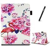 iPad Air 2 Hülle,Slynmax Ultradünne Superleicht Leder Hülle Wallet Flip Case Smart Case mit Mehrerer Blickwinkel Rückseite Abdeckung Leichtgewicht Anti-Kratzer Schutzhülle Tablet Ledertasche für iPad Air 2,Rosafarbener Flamingo