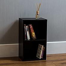 Vida Designs Oxford 2 Tier Cube Bookcase, Black Wooden Shelving Display Storage Unit Office Living Room Furniture