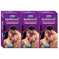 Durex Kohinoor Condoms - 10 Count (Pack of 3, Kala Khatta)
