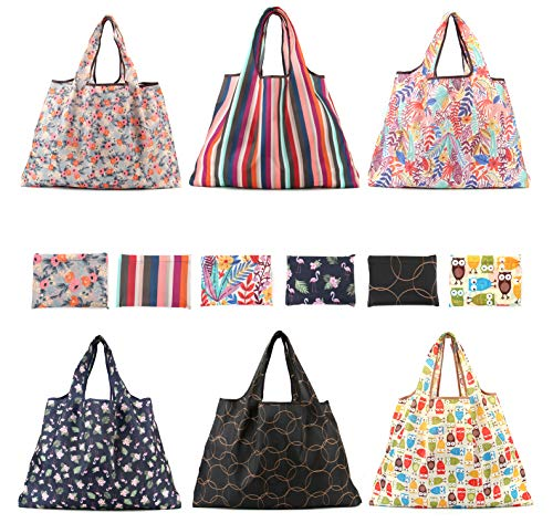 Lawei 6 Pack Reusable Grocery Bags Large Foldable Shopping Tote Bag Washable Heavy Duty Purse Shopping Bags