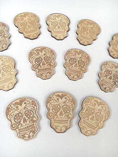 CPWood Zuckerschädel Holz Halloween DIY Holz Holz Ausschnitt Tag der Toten Holz Blanks Halloween Party Gravur Skelett (Halloween Toten Tag)