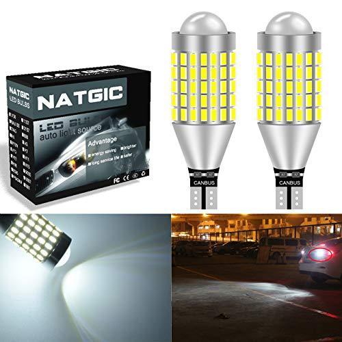 NATGIC T15 T10 W16W 92 Ampoules LED Blanc xenon 1800LM 3014SMD 78-EX Projecteur avec objectif pour feux arrière de stationnement arrière avec frein de recul, 6500K, 12-24V (lot de 2)