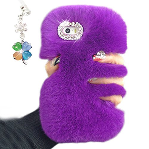 Cover per iPhone 6S Fur,Custodia per iPhone 6, Bonice Pelliccia Di Lusso Cristallo Bling [Serie peluche] ed Elegante Diamante Rex Rabbit Fur [carino] Custodia Inverno Calde Soffici Villi Eco-pelliccia Lusso Fur - Cover - 06