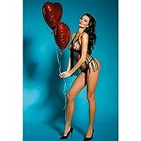 Bakaji Babydoll Lingerie Sexy Hot Cuore Nero 3 Pezzi Con Bra Aperto Perizoma Tanga e Copricapezzoli Taglia Unica per Giochi Erotici