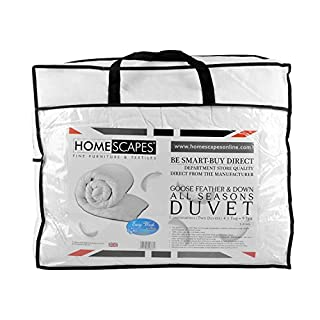 Homescapes King Size All Seasons (9 Tog + 4.5 Tog) - Luxury White Goose Feather & Down Duvet - 100% Cotton Anti Dust Mite & Down Proof Fabric - Anti Allergen - Quilt