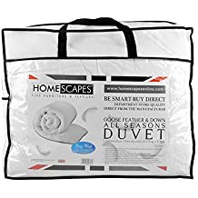 Homescapes King Size All Seasons (9 Tog + 4.5 Tog) - Luxury White Goose Feather & Down Duvet - 100% Cotton Anti Dust Mite & Down Proof Fabric - Anti Allergen - Washable at Home Quilt