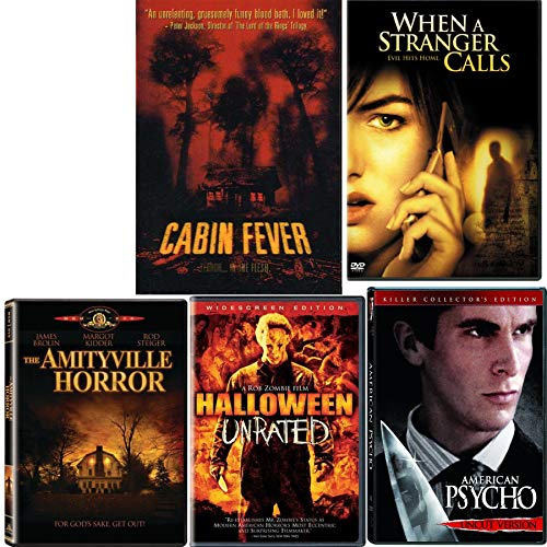 When Evil Hits Home Unleashed 5 Movie Collection Cabin Fever / When A Stranger Calls / American Psycho / Amityville Horror & Halloween Unrated DVD Horror Sequels Pack