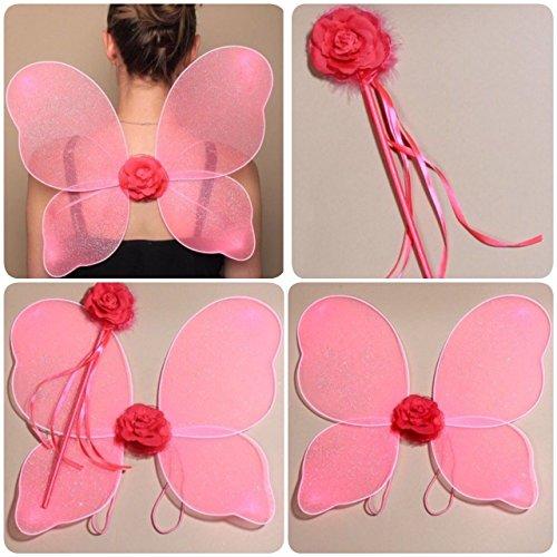 Pink Flower Fairy Wings und Wand Fancy Dress Up ()
