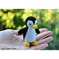 Pingüino suave peluche, regalos hechos a mano, crochet miniatura para bebé