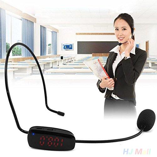 Haihuic Drahtloses Mikrofon Headset Mic mit Empfänger für die Kirche Home Karaoke Business Meeting Black (Drahtlose Mikrofone Für Kirchen)