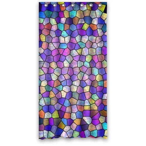 CHATAE 91,4x 182,9cm Zoll (klein) Modern Fashion Violett und Bunte kleine Muster Wasserdicht Duschvorhang, Polyester Stoff Bad Vorhang (Dusche Ringe im lieferumfang enthalten)
