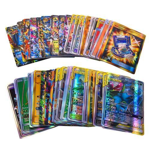 Loveinwinter 120pcs Carte De Combat Pokemon,Pokemon Card, Carte Flash Anglaise Pokemon, Carte De Bataille Pokemon(30 * équipe; 50 * méga; 20 * autocars; 20 * Ultra Beast GX)