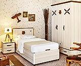 Dafnedesign.Com Kinderzimmer, komplett, bestehend aus: Einzelbett mit Matratze, Matratze, Matratze, Decke, Nachttisch, Lampe – [Serie: Dafne-Reale] – (DF11)