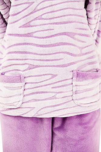Mesdames luxe Super doux câlin Twosie salon costume pyjama petit moyen grand & X grand Rayures lilas