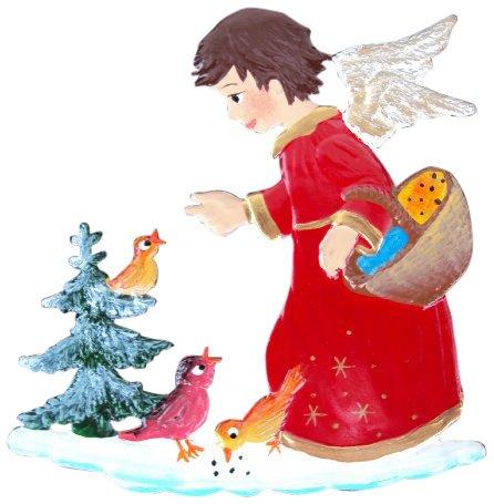 Zinngeschenke Engel beim Vögel füttern handbemalt aus Zinn (HxB) 6,0 x 5,0 cm, Christbaumschmuck
