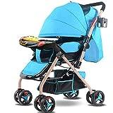 STC Ultraleicht Tragbare Faltende Zweiwegkinderwagen des Kinderwagens Kann Sitzen Liegend 0-3-3-Jährige Kinder Vier Rad Bb-Babyregenschirm, Blau, a