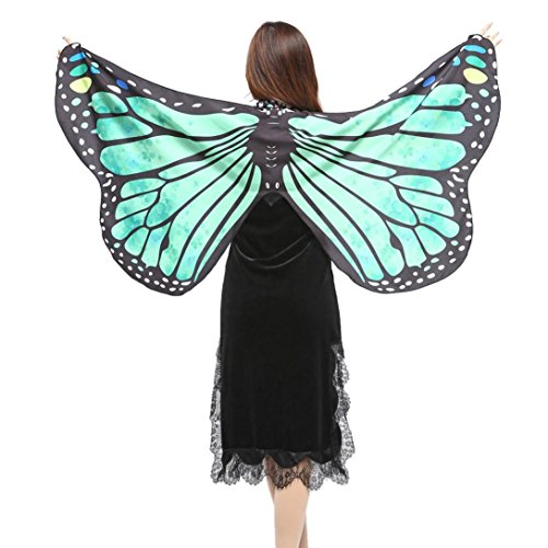(Dellin Frauen Schmetterlingsflügel Schal Schals Damen Nymphe Pixie Poncho Kostüm Zubehör (Grün))