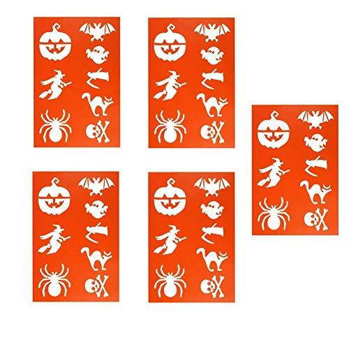 alasida Halloween Kunststoff Planer Schablonen Muster malen DIY Hexe Kürbis Spider Zeichnen Vorlagen für Tagebuch Scrapbook Diary Notebook Karten und Kunst-Projekte Geschenke 5