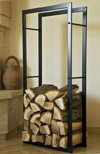Porta legna da camino 100cm nero 80009 cesto legno - Porta legna per camino ...