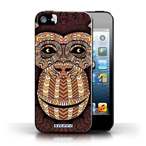 Etui / Coque pour Apple iPhone 5/5S / Loup-Couleur conception / Collection de Motif Animaux Aztec Singe-Orange