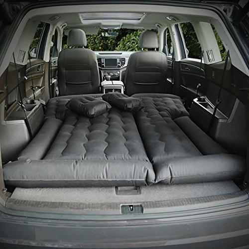 Price comparison product image QIHANGCHEPIN Double People Car Travel Air Mattress,  Outdoor Camping Air Bed,  SUV Extended Car Air Conditioner Bed Travel Two Air Pillow (Beige / Black) business Car (Color : Black)