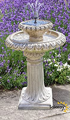 79cm Victoriana Antique Caststone™ Solar Bird Bath with Lights by Solaray™ from Primrose