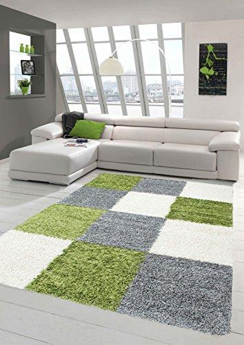 Traum shaggy tappeto shaggy a pelo lungo tappeto del salotto tappeto modellata in karo design verde grigio crema größe 200 x 290 cm