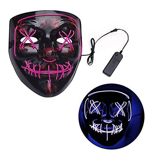 Modellierung Tanz Kostüm - Halloween Maske LED Gruselig Herren Horror Maskierter Fluoreszierender Tanz Blutiger Thriller Kopf Leuchtende für Erwachsene Fasching Maske Halloween Karneval Party Cosplay Unisex Einheitsgröße