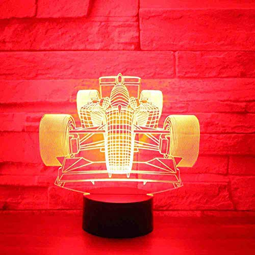 CDBAMX 3D Led Night Light Racing Car Front With 7 Colors Light For Home Decoration Lamp Amazing Visualization Optical Illusion -