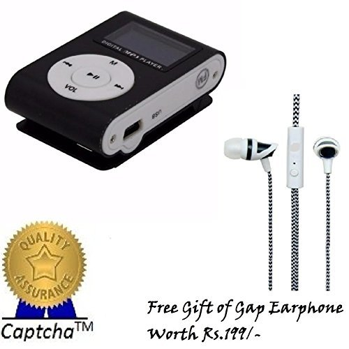 Captcha Mini Rechargeable MP3 Player with Gap Earphone Compatible with HTC One Max . (Assorted Color) with FREE GIFT