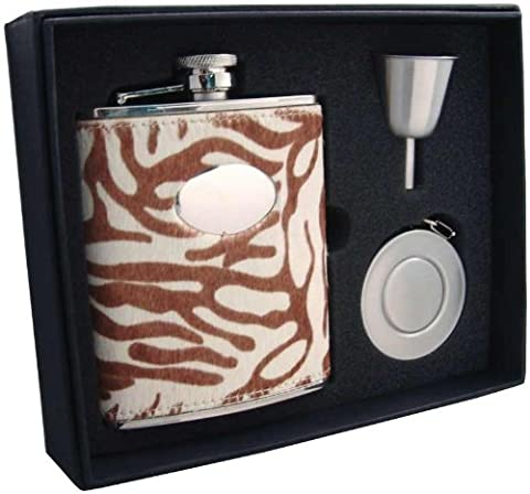 Visol VSET32-1286 Siberian Tiger Leather Stellar Flask Gift Set, 6-Ounce by Visol