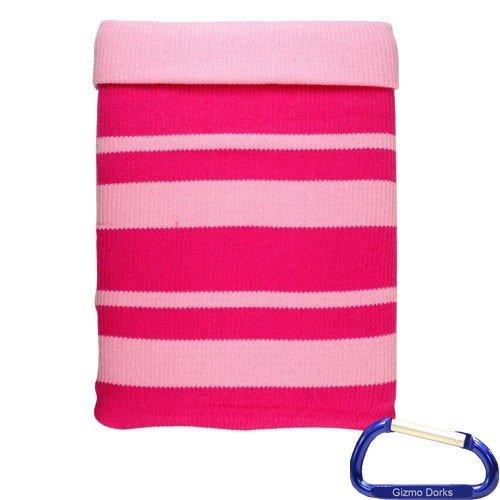Gizmo Dorks Weiches Strick Baumwolle Sleeve Schutzhülle (Pink) mit Karabiner Schlüsselanhänger für HP TouchPad Schlüsselanhänger Touchpad