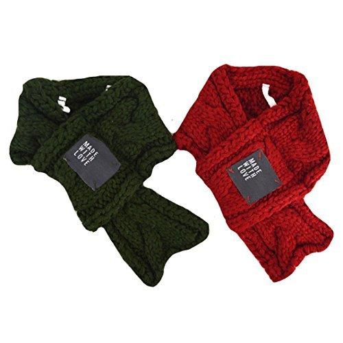 Stück Kostüm Zwei - Budd Haustier-Strickschal für Hunde, süße Halsbänder, Welpen, Katzen, Kostüm-Zubehör, für kleine Hunde, 2 Stück, warm (Rot, Grün)