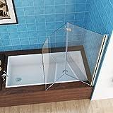 MIQU 100 x 140 cm Badewannen 2 TLG. Faltwand Aufsatz Duschwand Duschabtrennung...