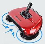 Scopa per uso domestico - 360Rotary - pressione manuale, scopa senza elettricità per casa, pavimento, polvere Red