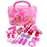 Children Educational Toy Pretend Hairdryer Play Kit Beauty Salon Fashion Play Set With Storage Box Carry Case For Kids Girls As Birthday Gift