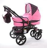 Chilly Kids Matrix Tiger Kinderwagen Safety-Set (Autositz & ISOFIX Basis, Regenschutz, Moskitonetz, Schwenkräder) 44 Rosa & Rosa Punkte