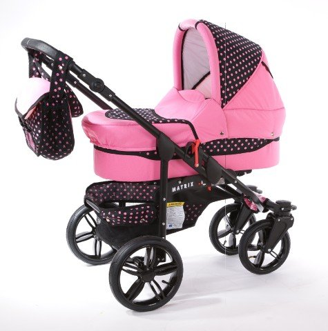 Chilly Kids Matrix Tiger Kinderwagen Safety-Set (Autositz & ISOFIX Basis, Regenschutz, Moskitonetz, Schwenkräder) 44 Rosa & Rosa Punkte